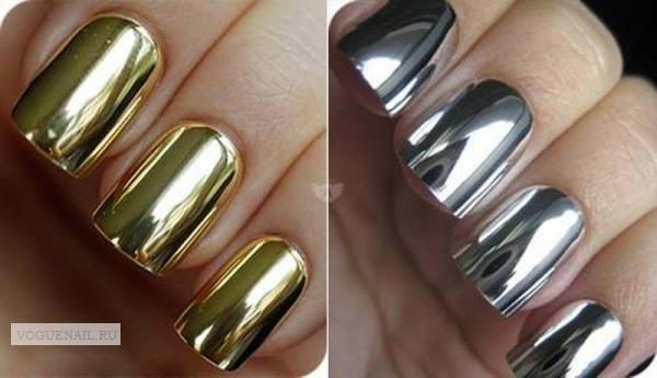 Втирка золотом на ногтях